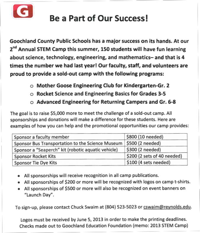 Goochland County Schools Seek STEM Camp Sponsors